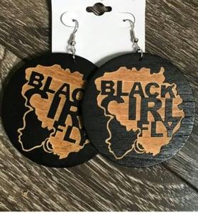 Image of Black Girl Fly wood earrings
