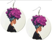 Image of Purple Afro Lady wood earrings