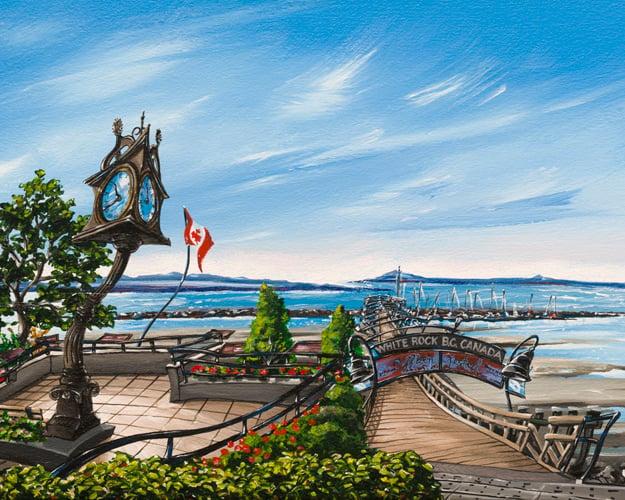 Image of White Rock Pier 8x10 Block Mounted Print