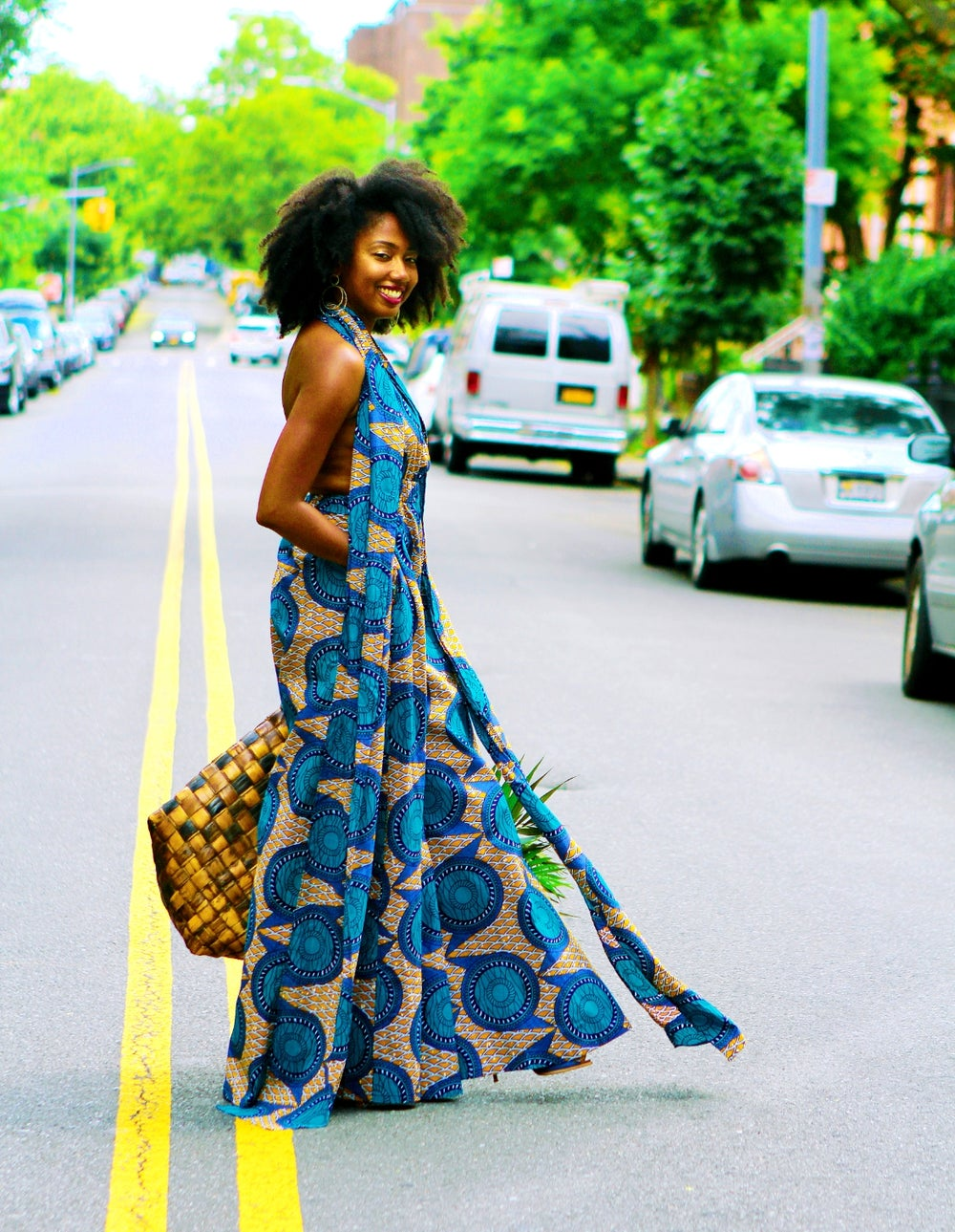 Image of Neveah - Blue African Print infinity Jumpsuit
