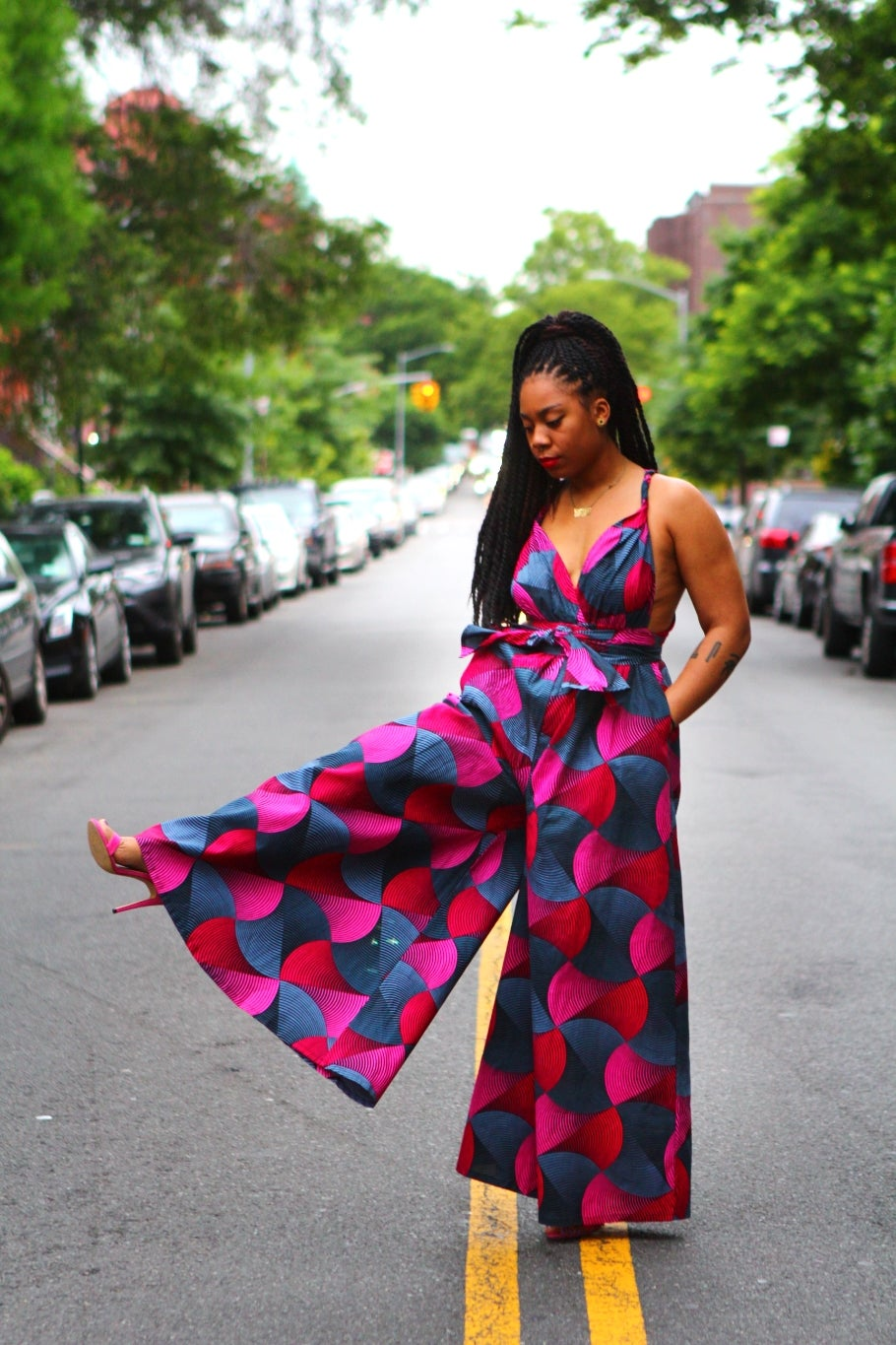 Image of Neveah - Pink African Print Infinity Jumpsuit