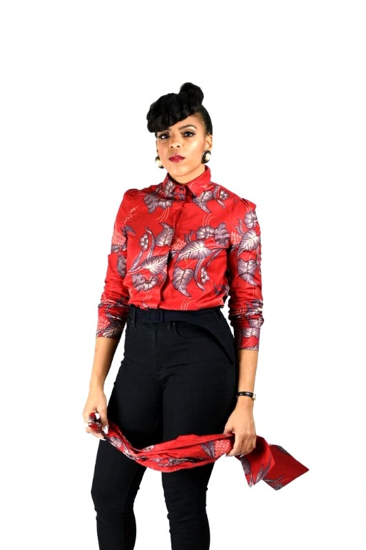 Image of ASIA - African Print Pussy Bow Button Up Shirt