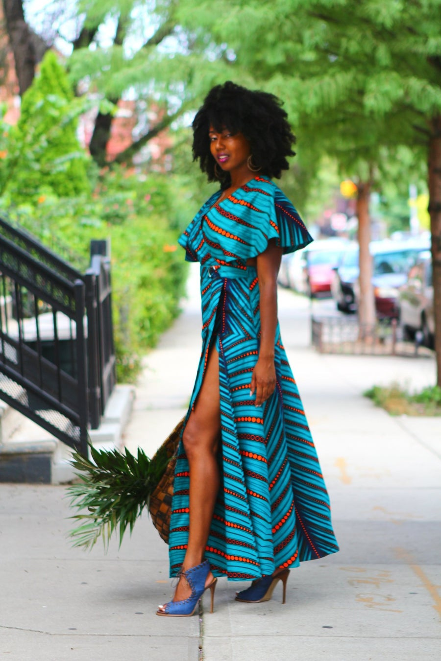Image of CAPE DRESS - Teal Orange African Ankara Wax Print Dress - 2 Fabric Choices