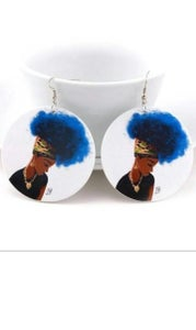 Image of Blue Afro Lady wood earrings