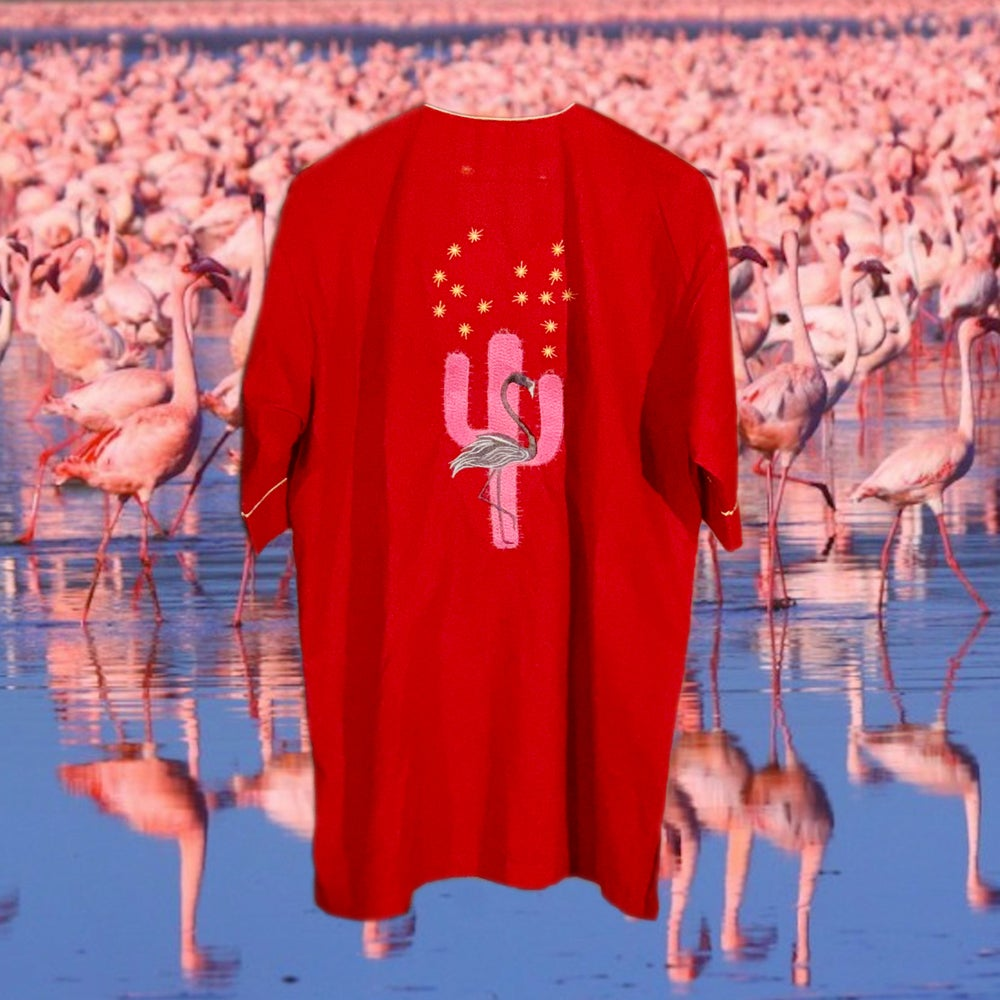 Image of black flamingo pajamas red