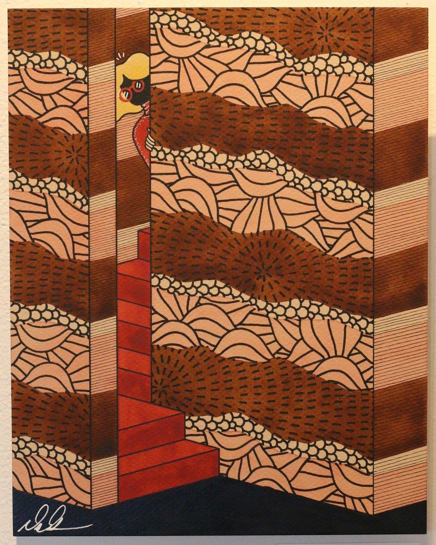 "Image of ""Peep Downstairs"" Original Watercolor"