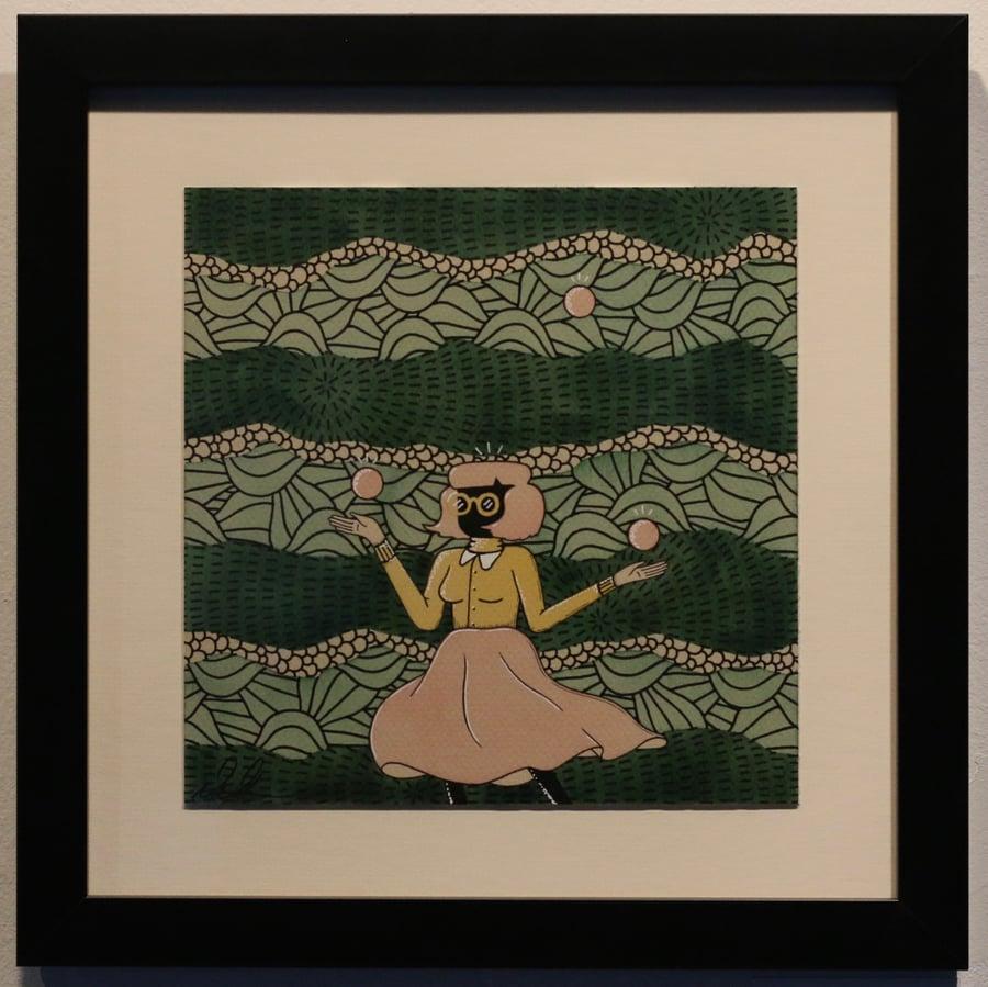 "Image of ""Juggler"" Original Watercolor Framed"