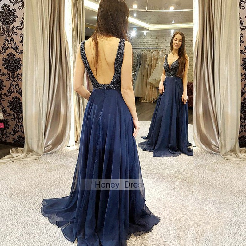 Image of Navy Blue Tulle Illusion Deep V-Neck Beading Long Prom Evening Gown With Beaded Bodice