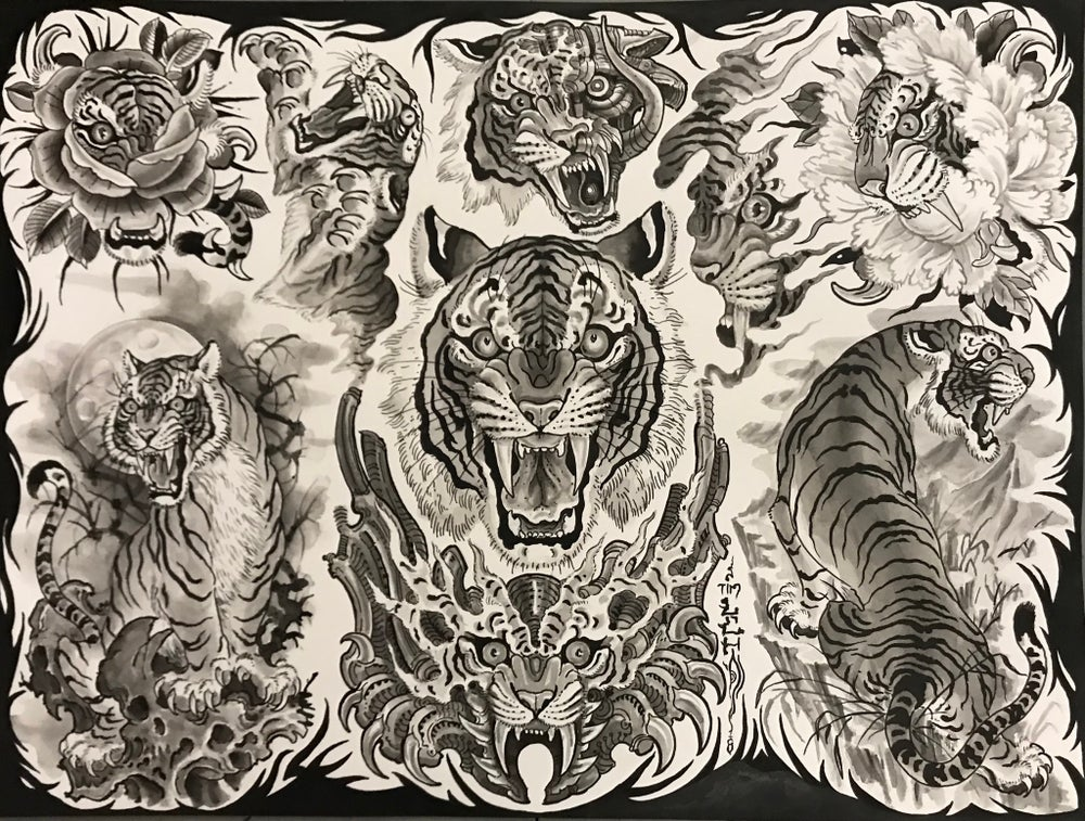 "Image of Tim Lehi ""Black and Grey Tiger"" Poster"