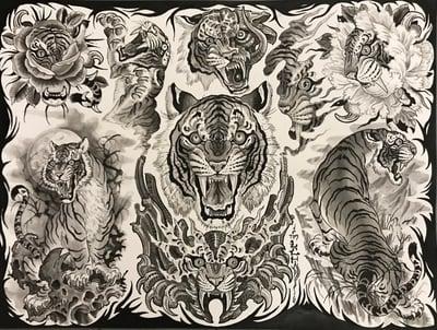 "Image of Tim Lehi ""Black and Grey Tiger"" Poster"