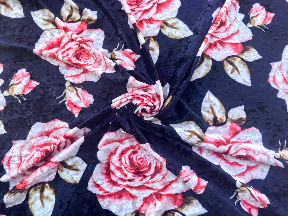 Image of Large Roses Crushed Velvet