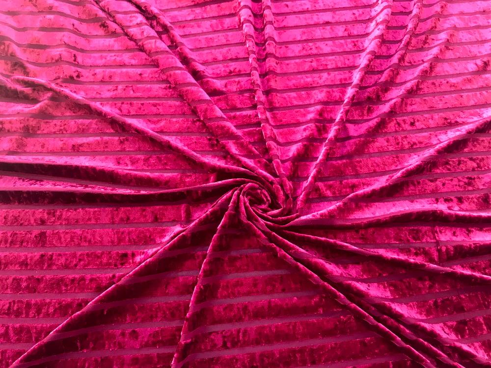 Image of Ruby Burnout Velvet Stripes