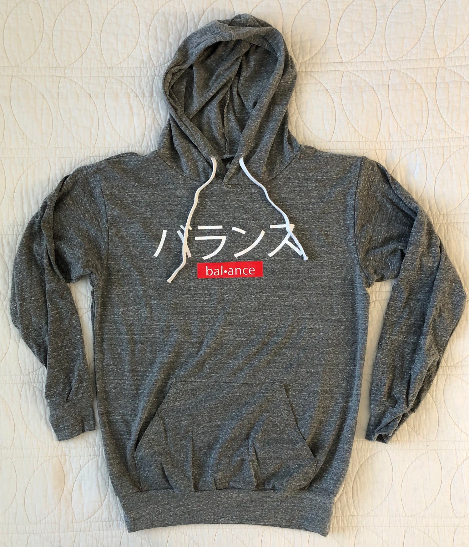 "Image of ""KANJI"" HOODED LONG SLEEVE - HEATHER GREY"