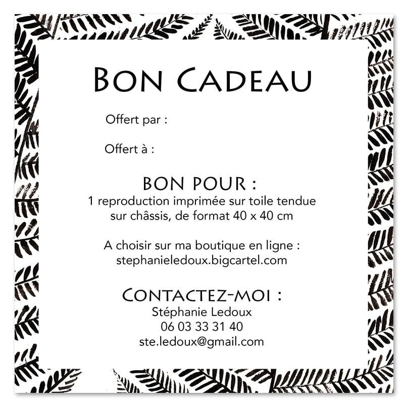 """Image of Bon cadeau -  """"Repro sur toile 40x40 cm"""""""