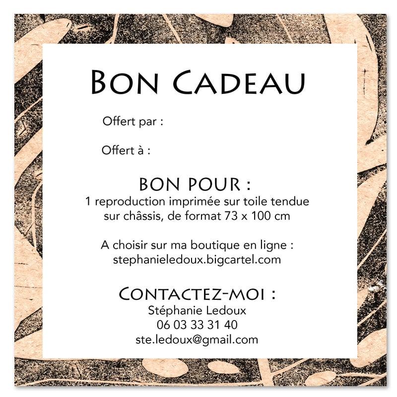 """Image of Bon cadeau -  """"Repro sur toile 73x100 cm"""""""