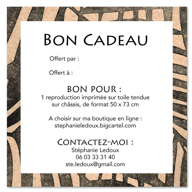 """Image of Bon cadeau -  """"Repro sur toile 50x73 cm"""""""