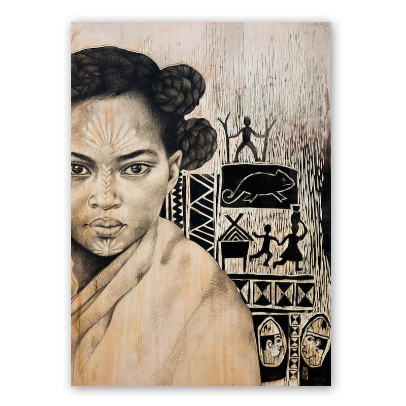 "Image of Original drawing - ""Masonjoany"" - 50 x 70 cm"