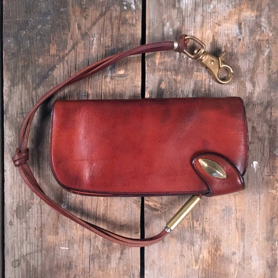 Image of THEDI LEATHERS BIKER WALLET RED BROWN