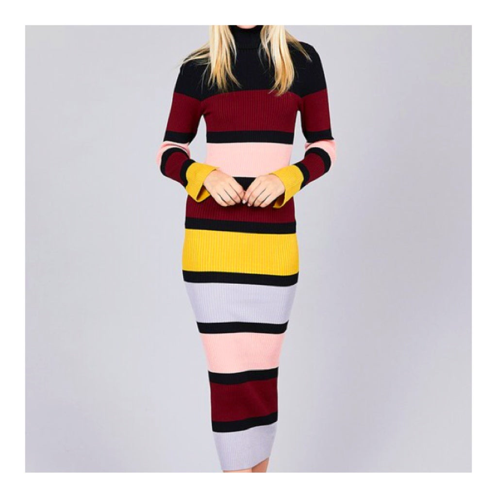 Image of Striped Turtleneck Dress