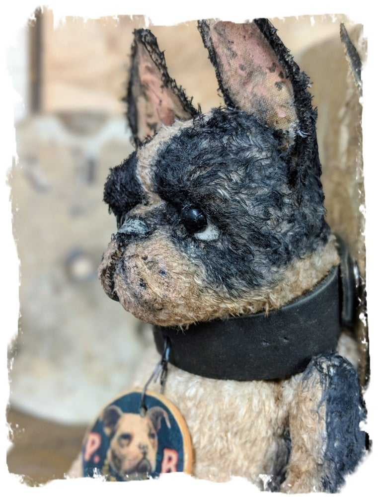 "Image of 8.5"" Vintage Style fat Boston Terrier Dog leather collar by Whendi's Bears"