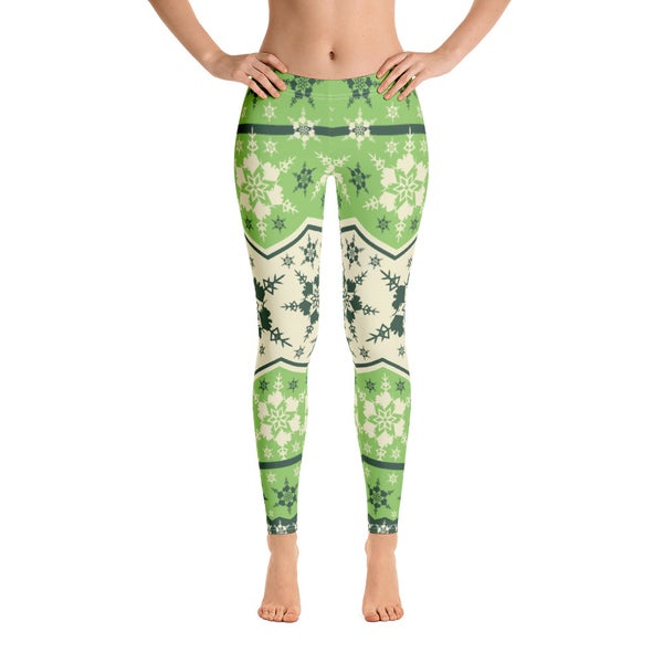 Image of AK Snowflake Leggings - Green/Cream