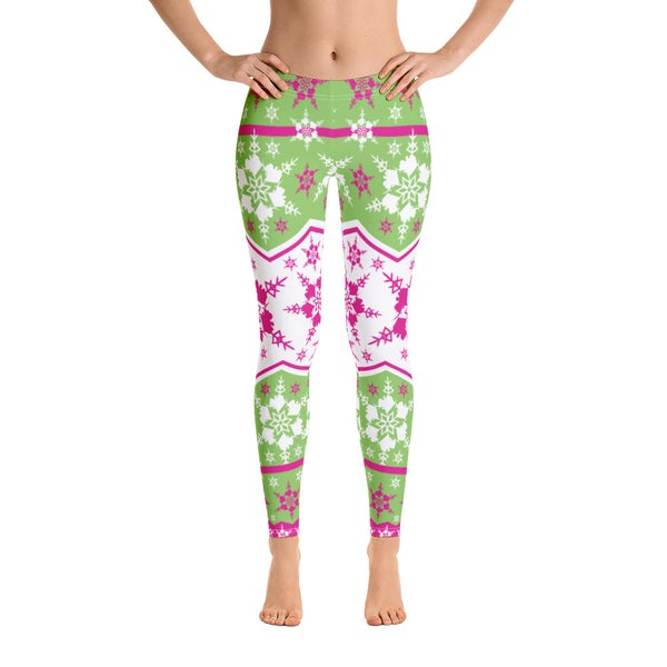 Image of AK Snowflake Leggings - Pink/Green