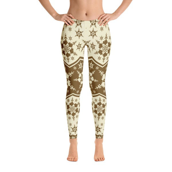 Image of AK Snowflake Leggings - Brown/Cream
