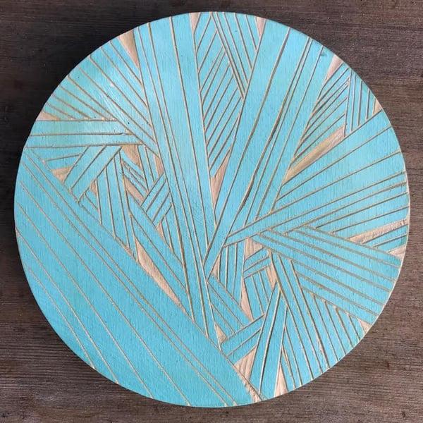 Image of Meditation wood carving - light blue