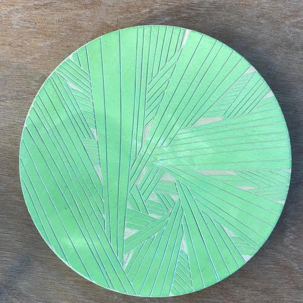 Image of Meditation wood carving - green