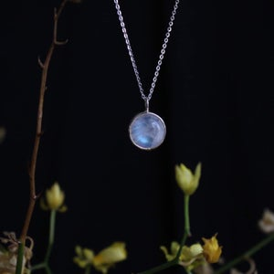 Image of 'Full Moon' x Rainbow Moonstone cabochon necklace