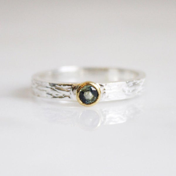 Image of Natural Blue/Green Sapphire 18k gold silver ring