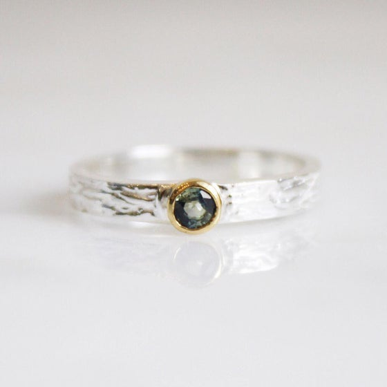 Image of Natural Blue/Green Sapphire 14k gold silver ring