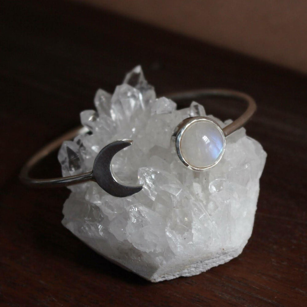 Image of 2 Shades of Moon x Rainbow Moonstone cuff bracelet