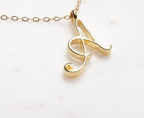 Image of Petite Script Initial Necklace A-Z gold or silver