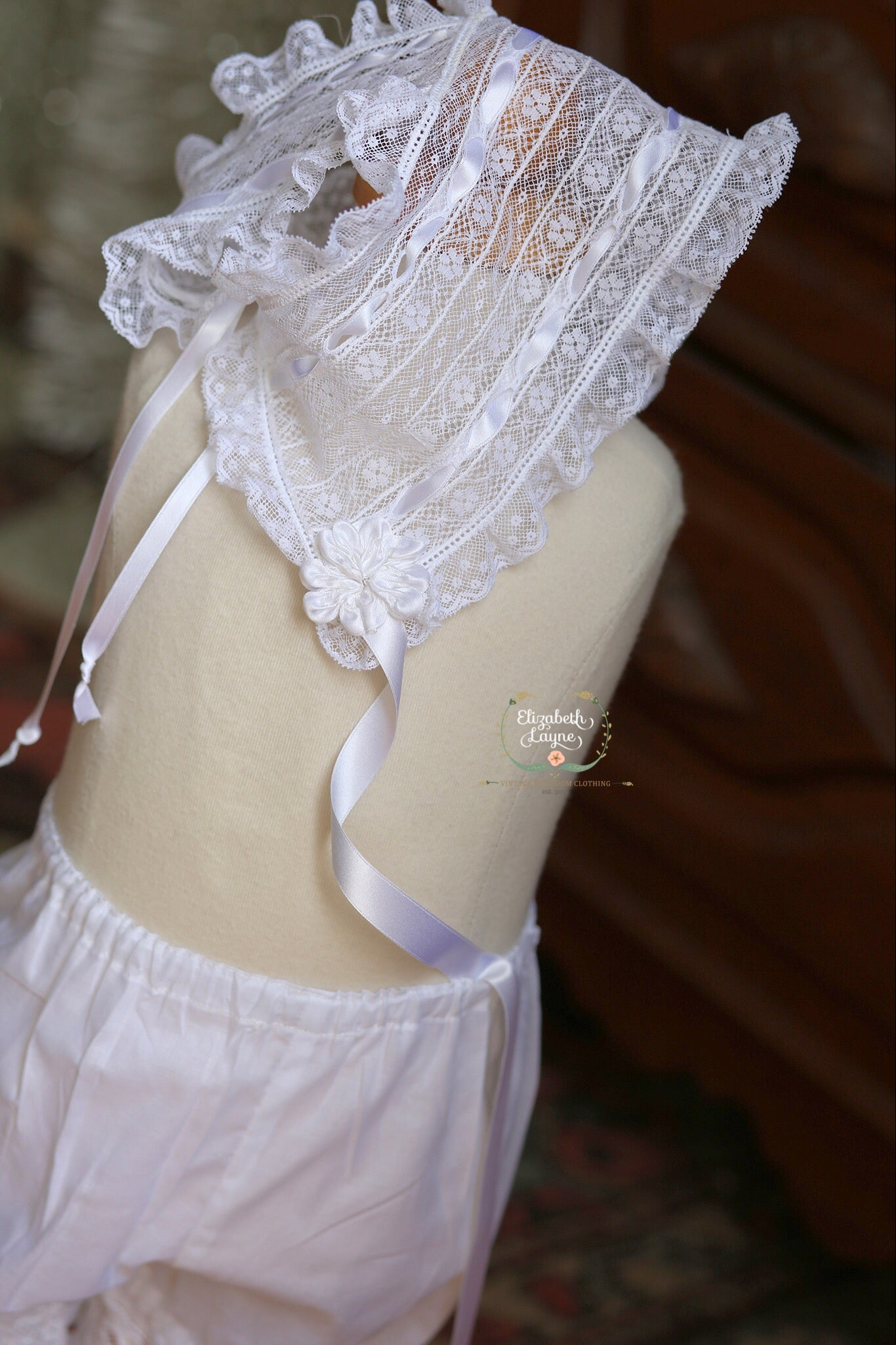Image of French Lace Bonnet & Lace Bloomer Set