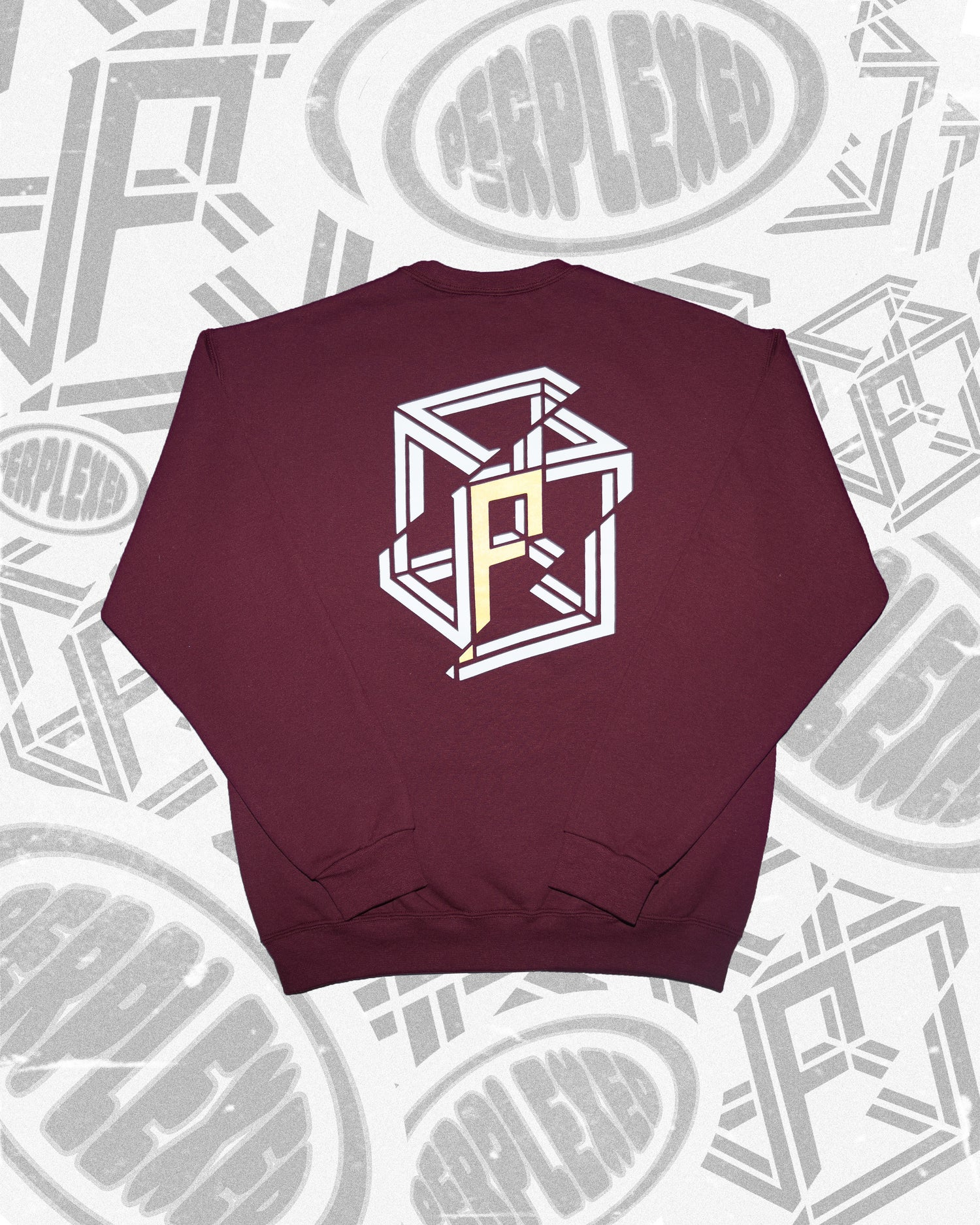 Image of SPLIT CUBE Maroon Crewneck