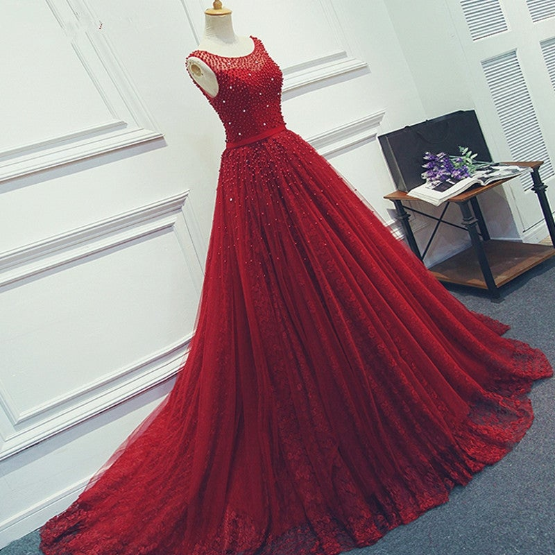 Beautiful Tulle Backless Long Prom Dresses , Prom Gown
