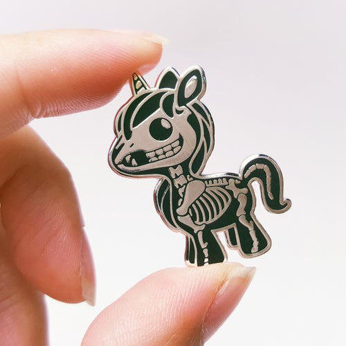 Image of Skeleton Unicorn Enamel Pins