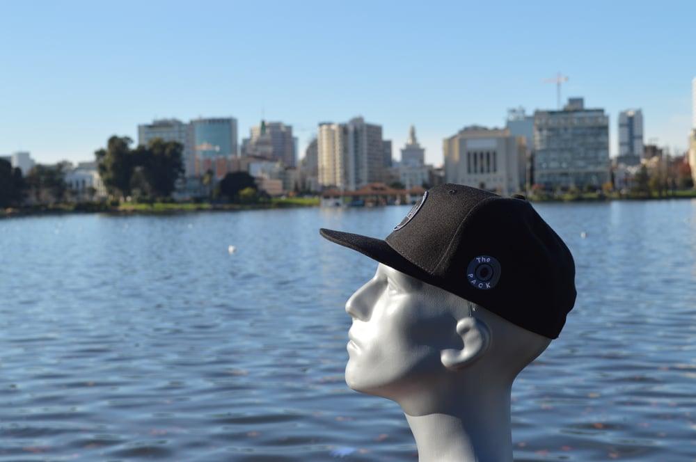 Image of The O Hats Black And Dark Gray Snap-Backs