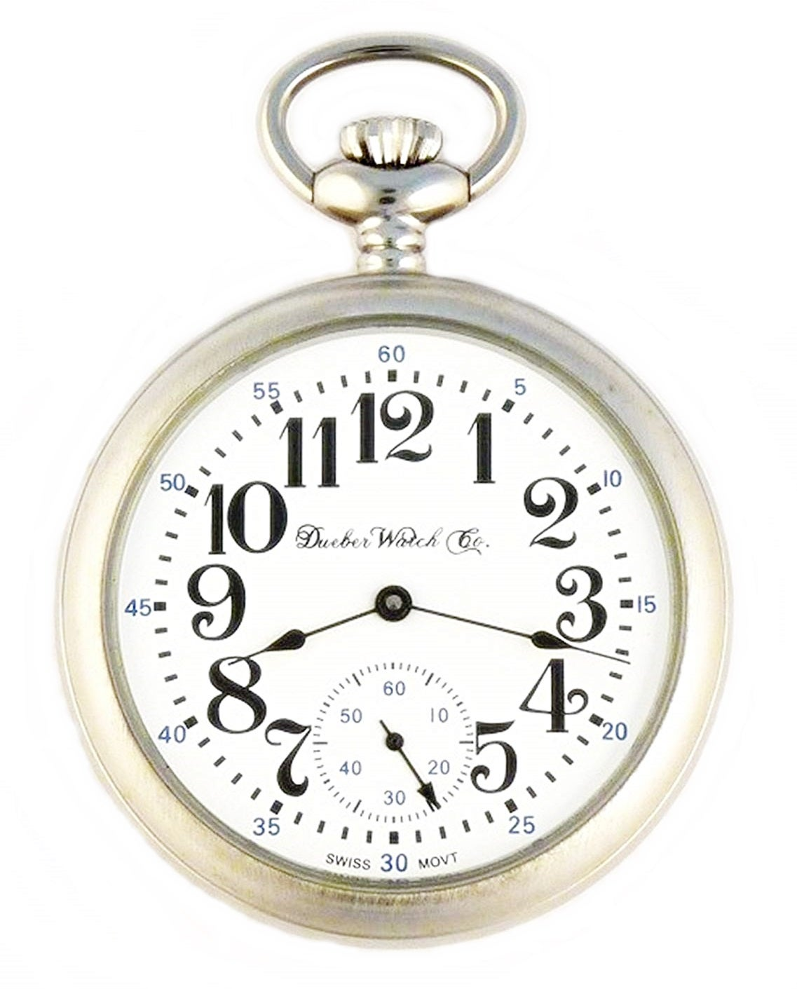 Image of Dueber Swiss Mechanical Pocket Watch, Satin Chrome Open Face Case, Arabic Numerals, Model 1