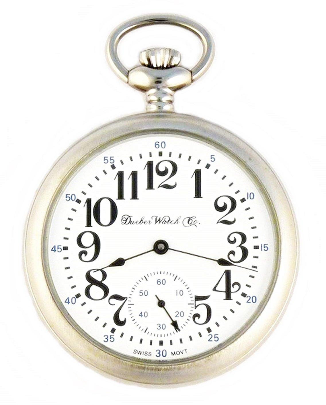 e7ba38665 Image of Dueber Swiss Mechanical Pocket Watch, Satin Chrome Open Face Case,  Arabic Numerals