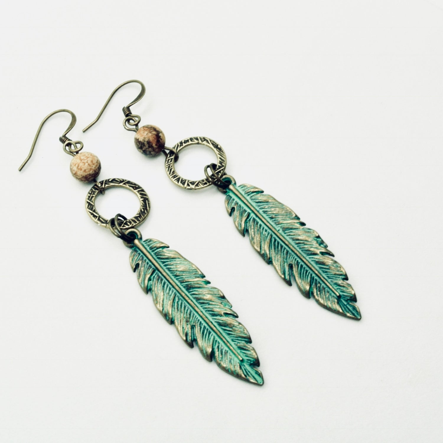 Image of Brass Patina Feather Earrings