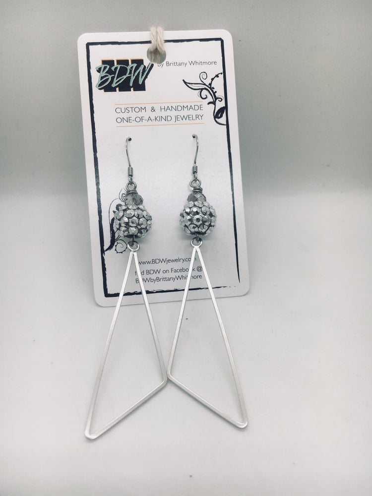 Image of Silver Sparkle Geometric Earrings