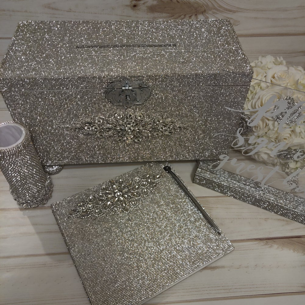"""Lauren"" Full Rhinestone Card Box (Available in rose gold)"