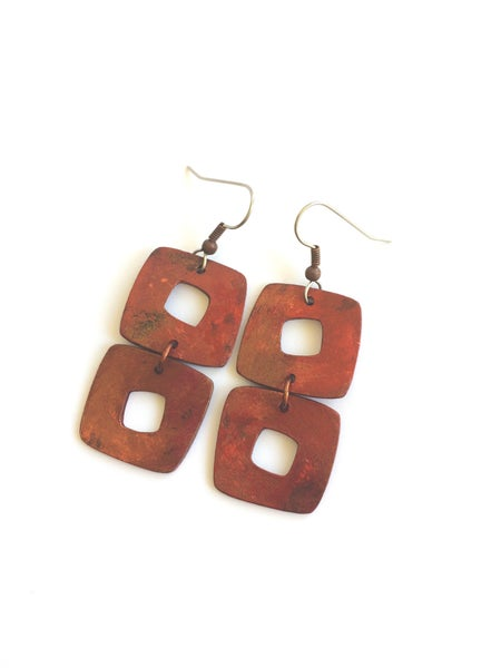 Image of Barcelona Earrings / Burnt Copper Finish / Paper