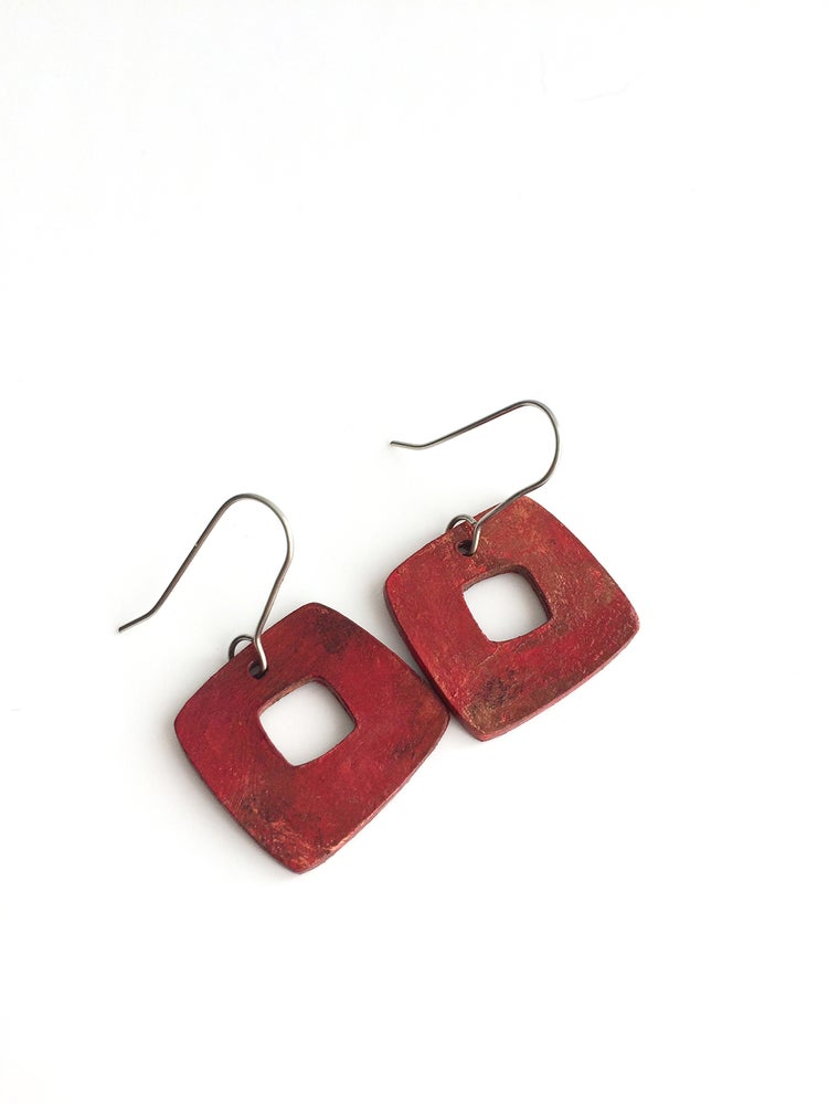 Image of Barcelona Solo Earrings /Burnt Copper Finish / Paper