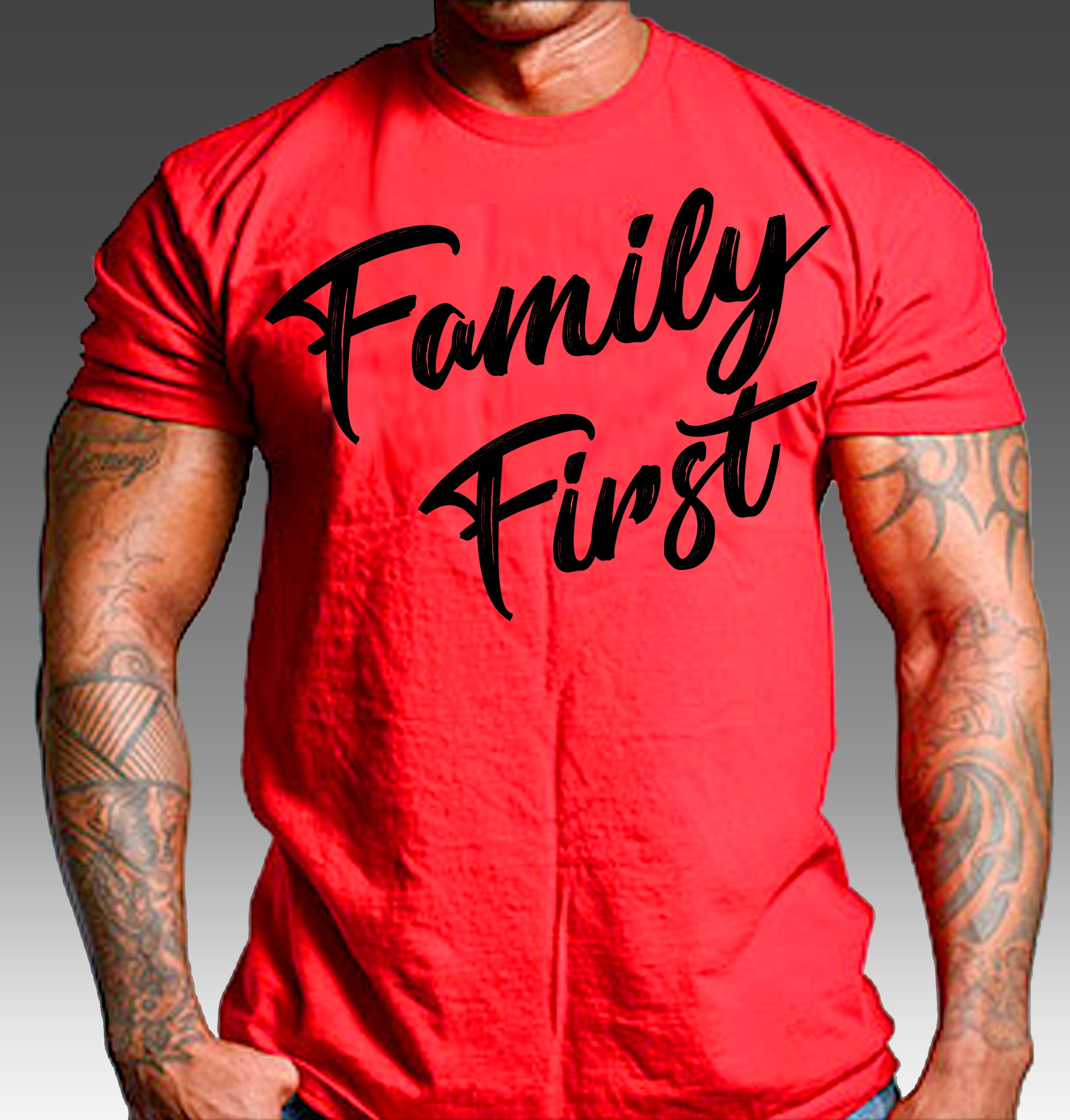 red t shirt with black print