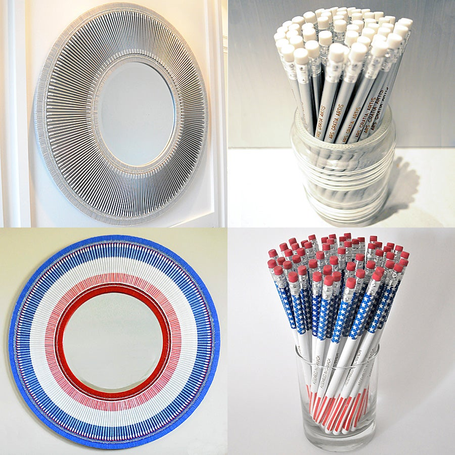 Image of Pencil Mirrors (Silver, Stars and Stripes)