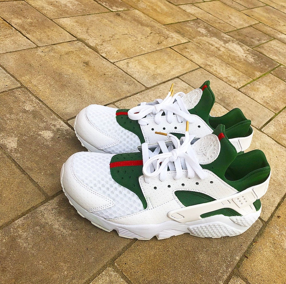 Image of Men's Nike Huarache White 'Gucci' Custom