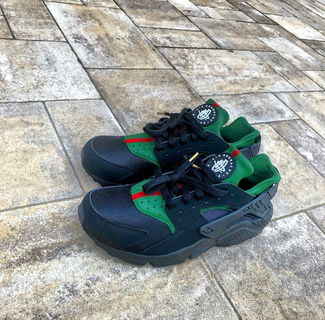 Image of Men's Nike Huarache Black 'Gucci' Custom